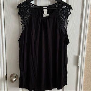 H&M Lace Detail Sleeveless Blouse sz XL NWT